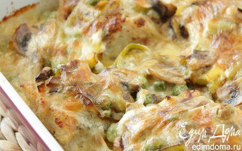 Запеченная треска с шампиньонами и горошком   Кулинарные рецепты от «Едим дома!»