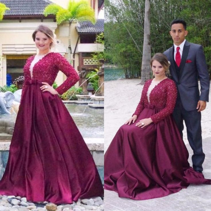 >> Click to Buy << Burgundy Plus Size Prom Dresses Long Sleeve Deep V Neck 2017 Winter Classic Design Party Gowns vestidos de fiesta Custom Size #Affiliate