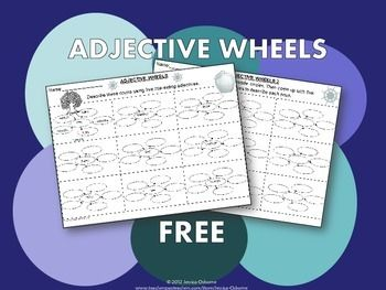 FREE Adjective Wheels Graphic Organizer (two pages)