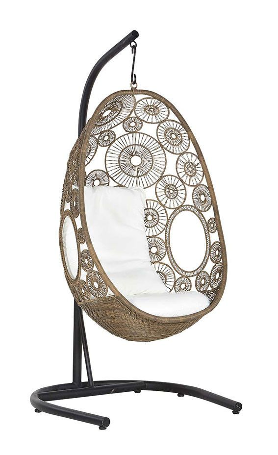 Lina Hanging Egg Chair With Stand Black White Natural