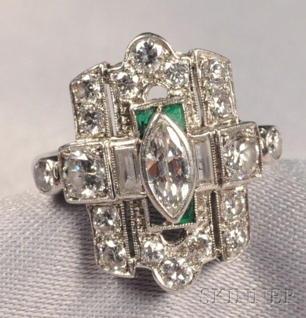 Art Deco Platinum and Diamond Ring   Sale Number 2515B, Lot Number 659   Skinner Auctioneers