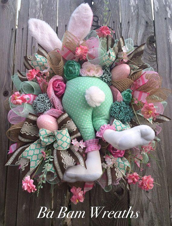 Bunny Wreath Bunny Swag Bunny Decor Cute Bunny by BaBamWreaths