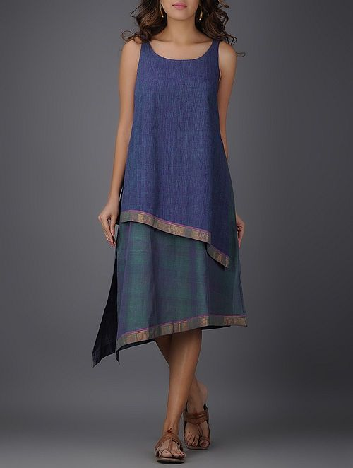 Blue Round Neck Handwoven Mangalgiri Cotton Layered Dress