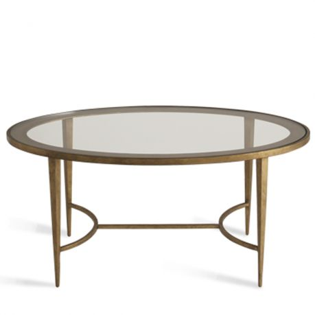 CFT11   SALVATORE OVAL COFFEE TABLE   FRENCH BRASS WITH CLEAR GLASS TOP |  Southhillhome.