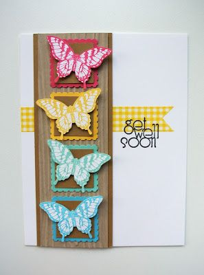 """Postage punch, 1"""" square punch and Elegant Butterfly punch -- love a card made almost entirely using punches!"""