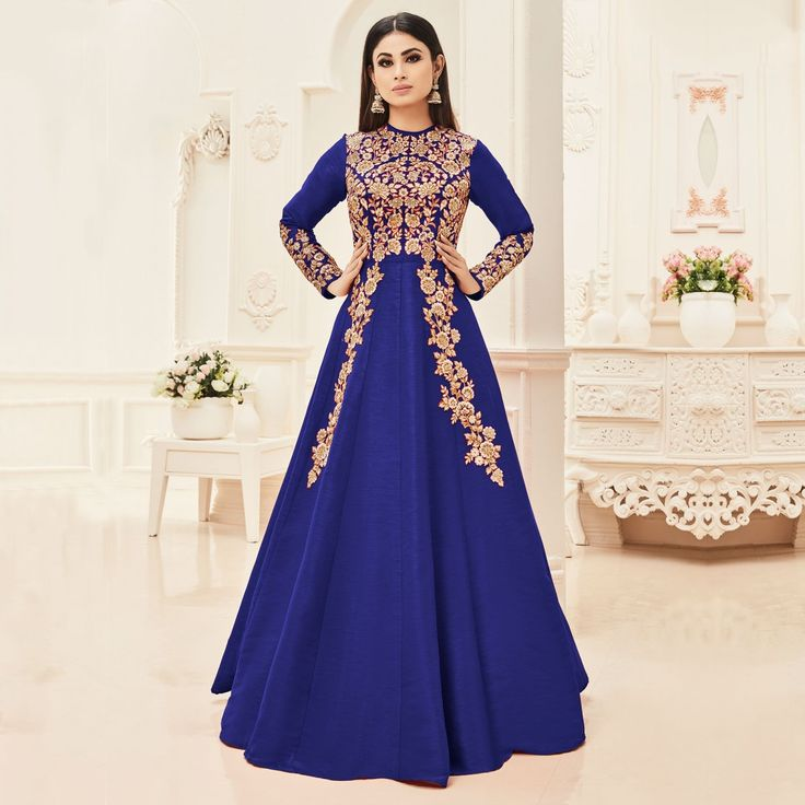 Buy Blue Cotton Silk Floor Length Anarkali Suit online India, Best Prices, Reviews - Peachmode