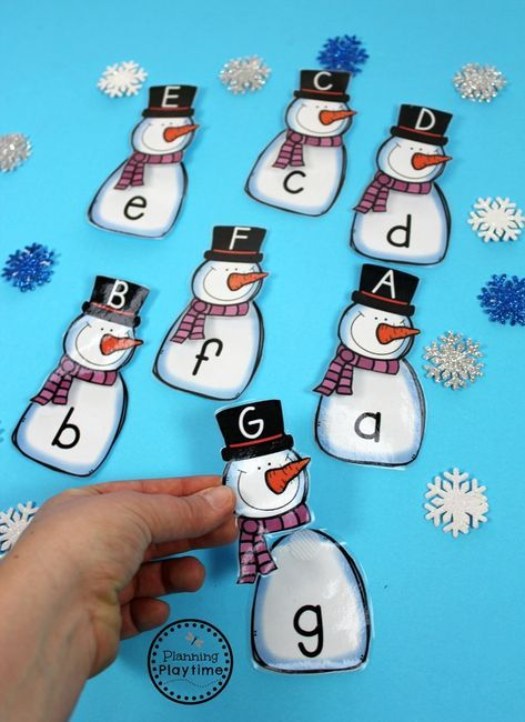 Preschool Letter Matching Puzzles for winter.