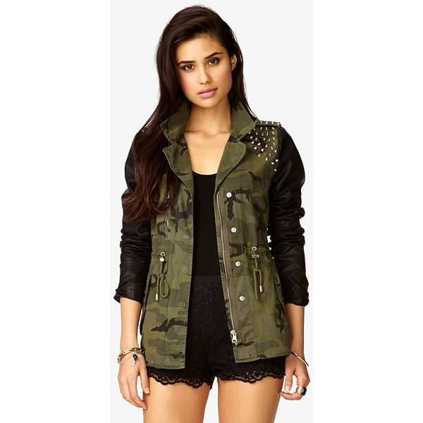Faux Leather Spiked Camo Jacket ($33) ❤ liked on Polyvore featuring outerwear, jackets, outfits, shirts, brown jacket, brown faux leather jacket, spike jacket, long jacket and forever 21