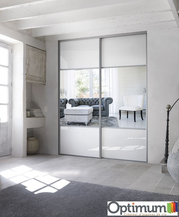 Portes De Placard Optimum Verre Laque Blanc Et Miroir Argent In 2020 Closet Doors Home Closet Bedroom