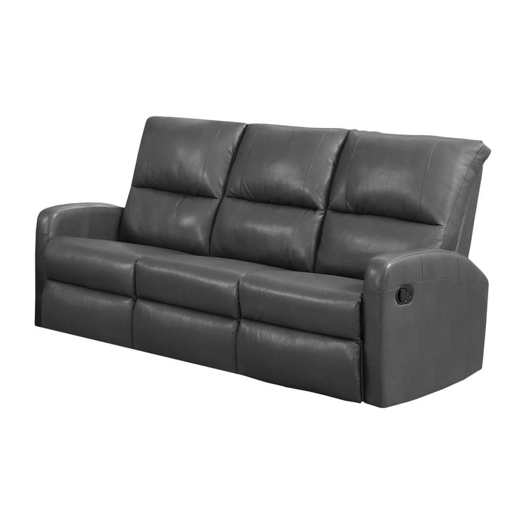 Monarch Charcoal Bonded Leather Reclining Sofa