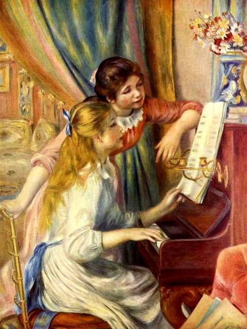 Pierre-Auguste Renoir  Schilderij Naam Twee meisjes aan de piano Jaar van oprichting 1893