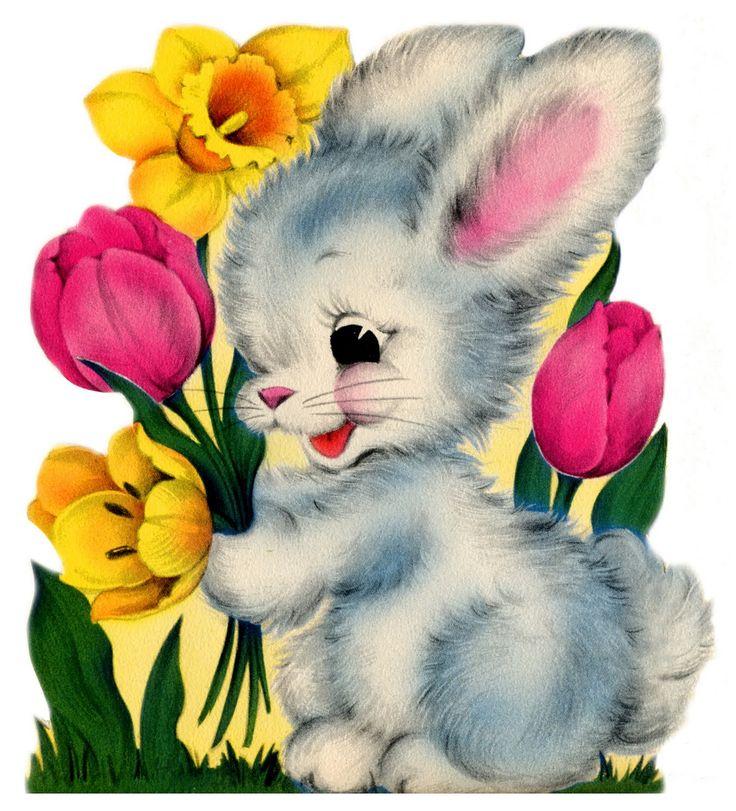 Картинки с зайцами с цветами