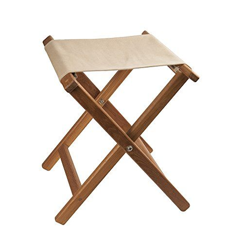 Camping Stools - Teak Framed Folding Camp Stool with Khaki Canvas Seat ** Check out this great product.