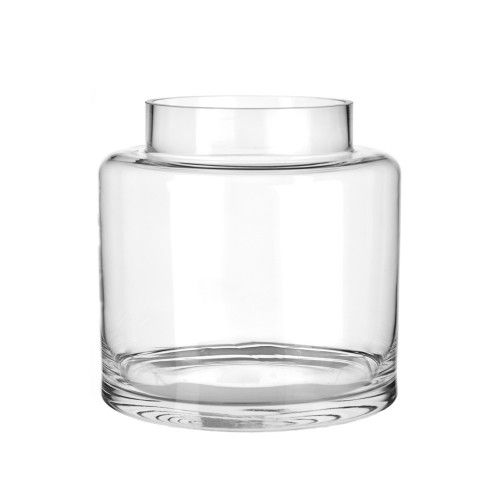 VASE Glass Square Round Large 24.5x25cm | Wheel&Barrow Homewares