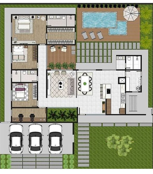 100x80 Big House Floor Plan With Swimming Pool And Open Garden House Floor Design Pool House Plans Model House Plan