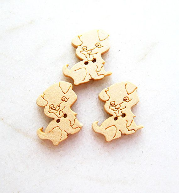 Lovely Dog  Wood Buttons Children Buttons Sewing by nezoshop, $2.60
