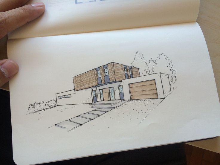 design architektur architecture einfamilienhaus home house sketch skizze copic marker perspektive entwurf new dominic mimlich – Johanna Acham