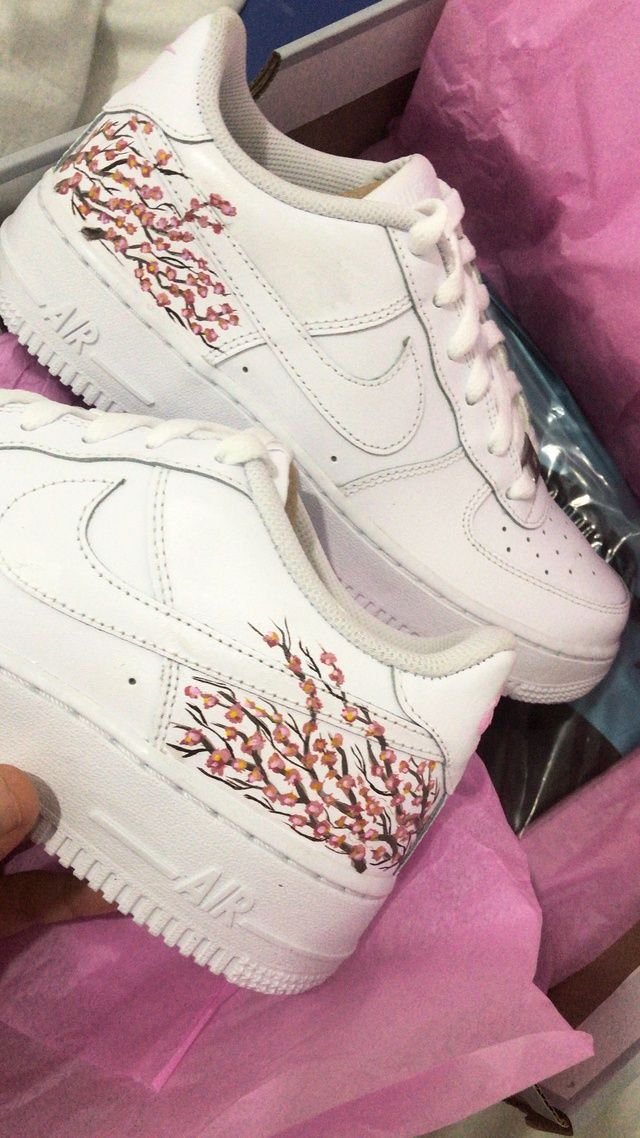 Cherry Blossom Air Force 1 in 2020 Painted shoes, Air