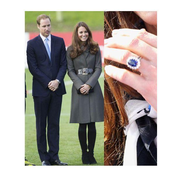 Kate Middleton e seu emblemático anel azul, que pertenceu a Princesa Diana