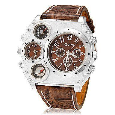 OULM montre à quartz avec 4 cadran - 2 fuseaux, boussole, thermométre et bracelet en cuir