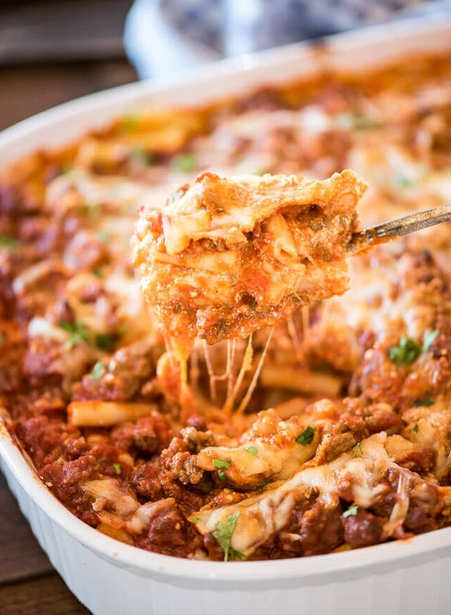 Ingredients 12 oz ziti 2 tsp olive oil 2 clove garlic, minced 1⁄3 lb lean ground beef 1⁄2 tsp salt 1⁄4 tsp black pepper 1 tsp dried rosemary 1 tsp dried oregano 1 tsp dried thyme 1 can (20 oz) crushed tomatoes 1 cup part skim mozzarella cheese, shredded Directions Prep 20 min Cook 50 min Ready…