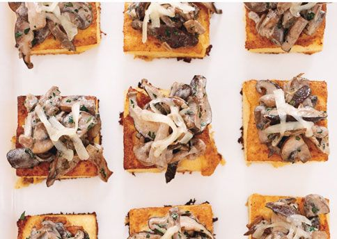 Wild Mushroom Ragoût on Crispy Polenta with Comte Cheese | 101 Bite-Size Party Foods