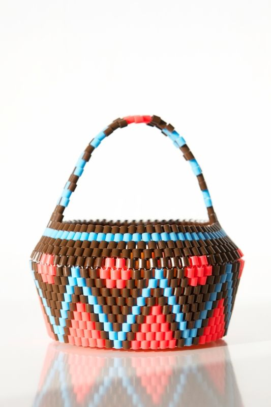 neon autumn basket in brown. made with hama beads. hejsangoods.bigcartel.com