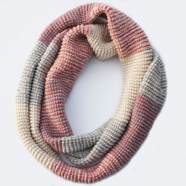 Double-stranded Tunisian crochet. Ravelry: Ombre Infinity Scarf pattern by Tara Schreyer