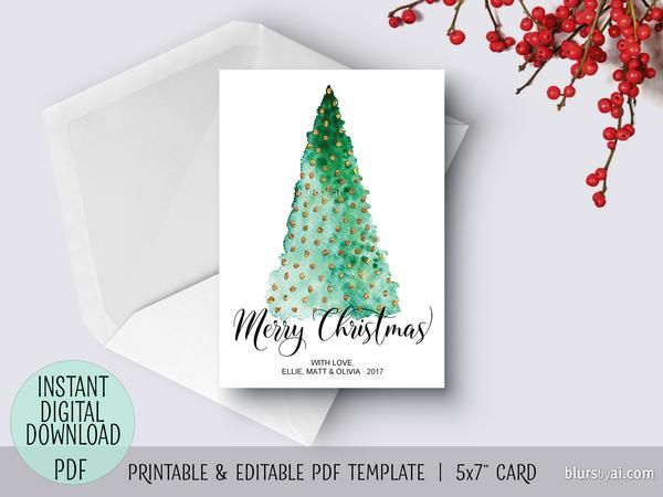 Editable Pdf Christmas Card Template Abstract Watercolor Christmas Tree Christmas Card Template Diy Christmas Cards Watercolor Christmas Cards