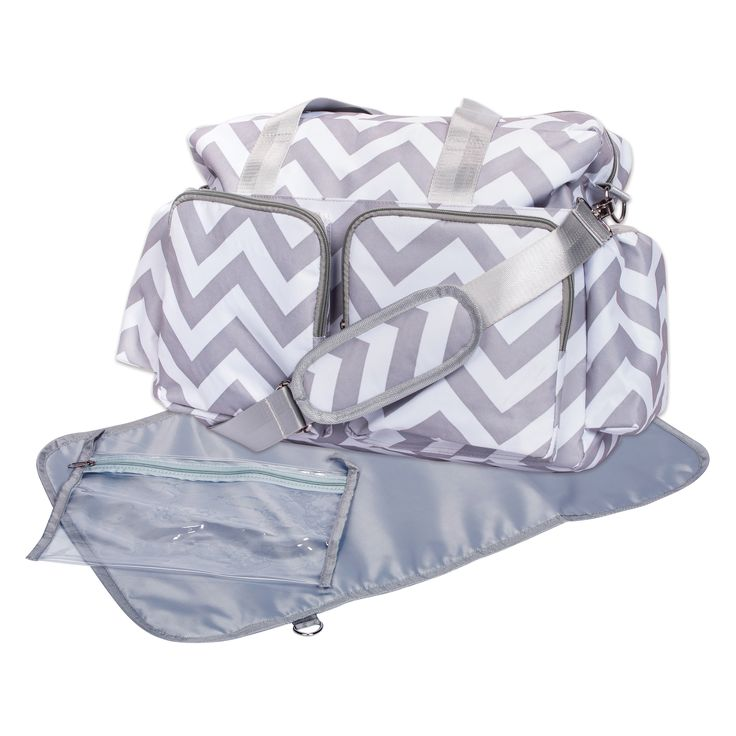 Multiple organizational pockets, wipe-off exterior and changing pad make this Deluxe Duffel Diaper Bag ideal for any little family. The lined, grey and white chevron design, top handles and adjustable/ removable shoulder strap give this bag versatility.