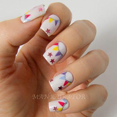 Circus flag nail art