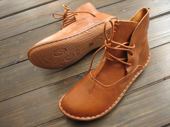 Handgemaakte schoenen, enkellaarzen, Oxford vrouwen schoenen, platte schoenen, Retro lederen schoenen, Casual schoenen, korte laarzen