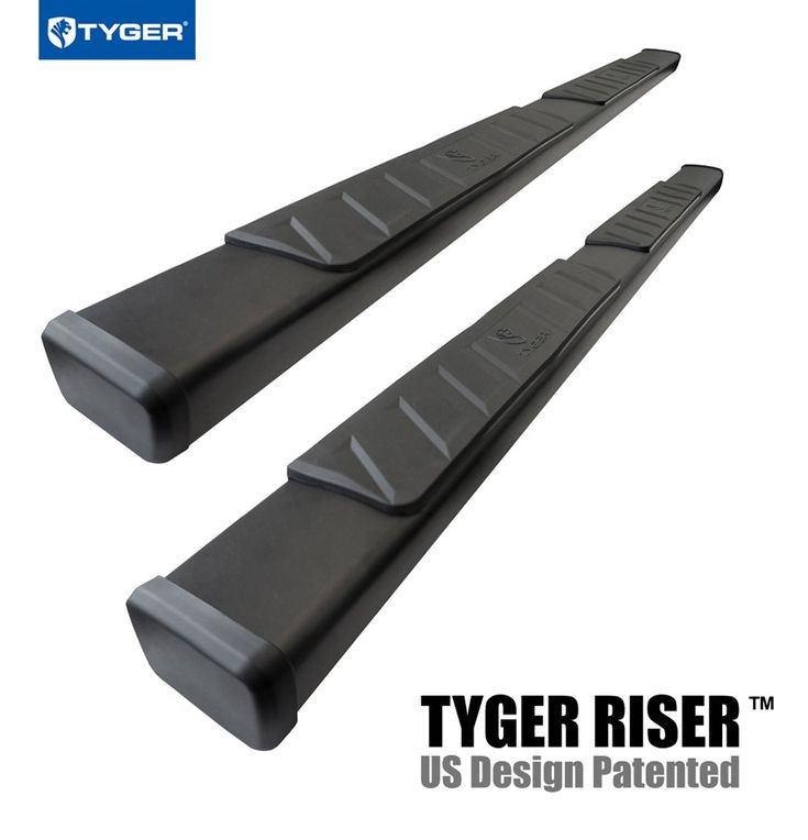 "Tyger Auto TG-RS2C40038 RISER For 2007-2018 Chevy Silverado / GMC Sierra 1500/2500/3500HD Ext/Double Cab 4"" Black Side Step Nerf Bars Running Boards 