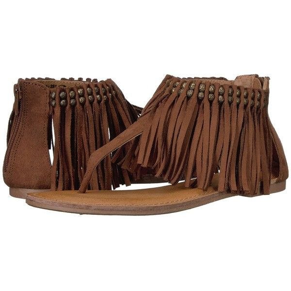 Not Rated Solene (Tan) Women's Sandals ($31) ❤ liked on Polyvore featuring shoes, sandals, fringe sandals, bohemian shoes, tan shoes, not rated shoes and boho sandals