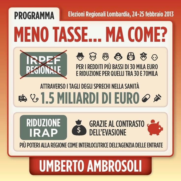 Infografica su Tasse - programma di Umberto Ambrosoli candidato presidente alla Regione Lombardia nel 2013