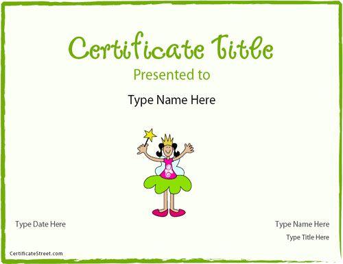 Blank Certificates - Princess Certificate | CertificateStreet.com