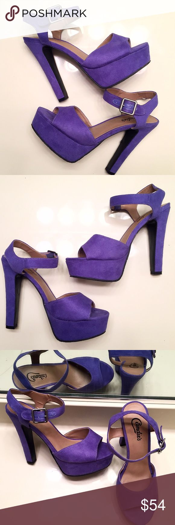 [Candie's] light purple ankle strap pumps size 8.5 These were worn once but are essentially brand new. Light purple ankle strap pumps by Candie's. Women's size 8 1/2 Candie's Shoes Heels