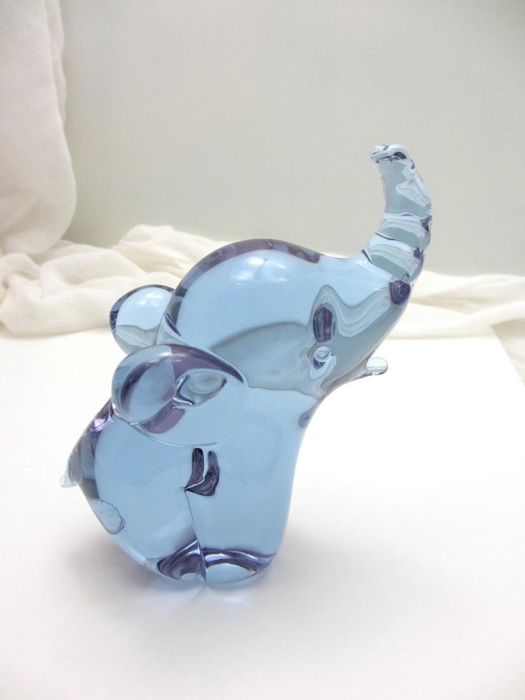 Adorable vintage blue/purple handmade glass elephant; Hand blown glass animal figurine