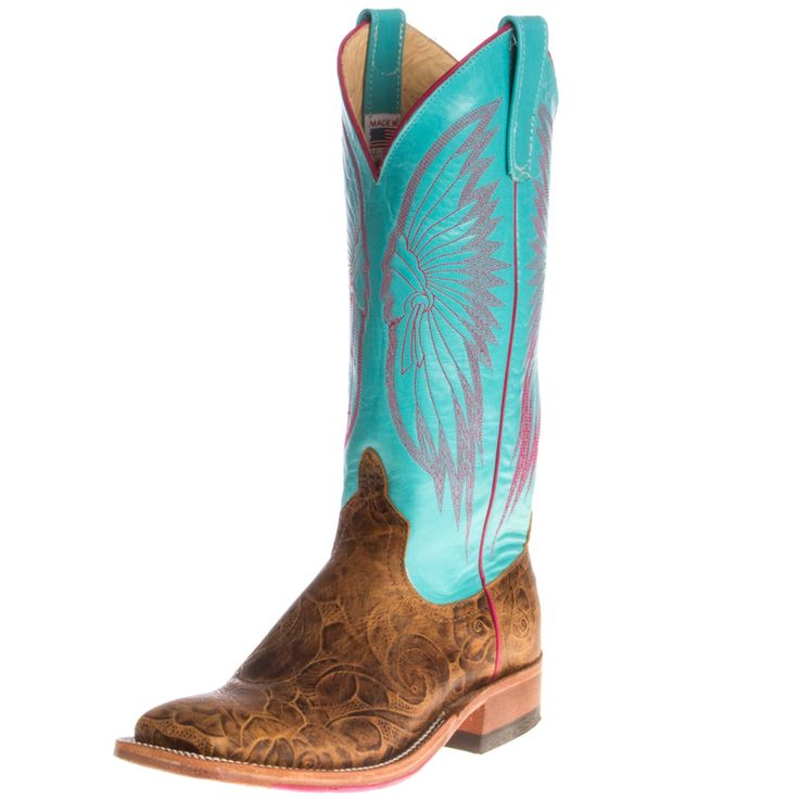 "Shop Women's Anderson Bean Brown Tool Box 13"" Emerald Top Cowgirl Boots"
