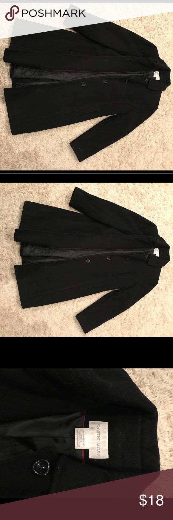 Worthington women's medium long black winter coat Worthington black long winter coat, button up. Women's medium. Worthington Jackets & Coats #coatswomen #blackwintercoats #women'swintercoatslong