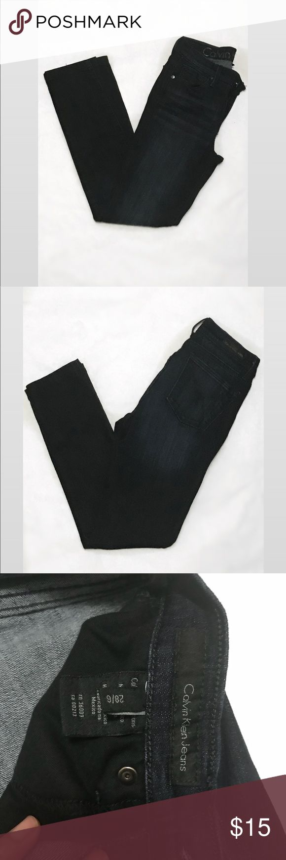 """CALVIN KLEIN- Ultimate Skinny Jeans EUC- Dark Wash Jeans With Factory Fade On Thigh. Style: Ultimate Skinny. Fly Zip With Button Closure. 5 Pockets. Measurements taken while garment laying flat: Waist 12"""", Inseam 27 1/2"""", Rise 9. 1/2"""" Calvin Klein Jeans Skinny"""