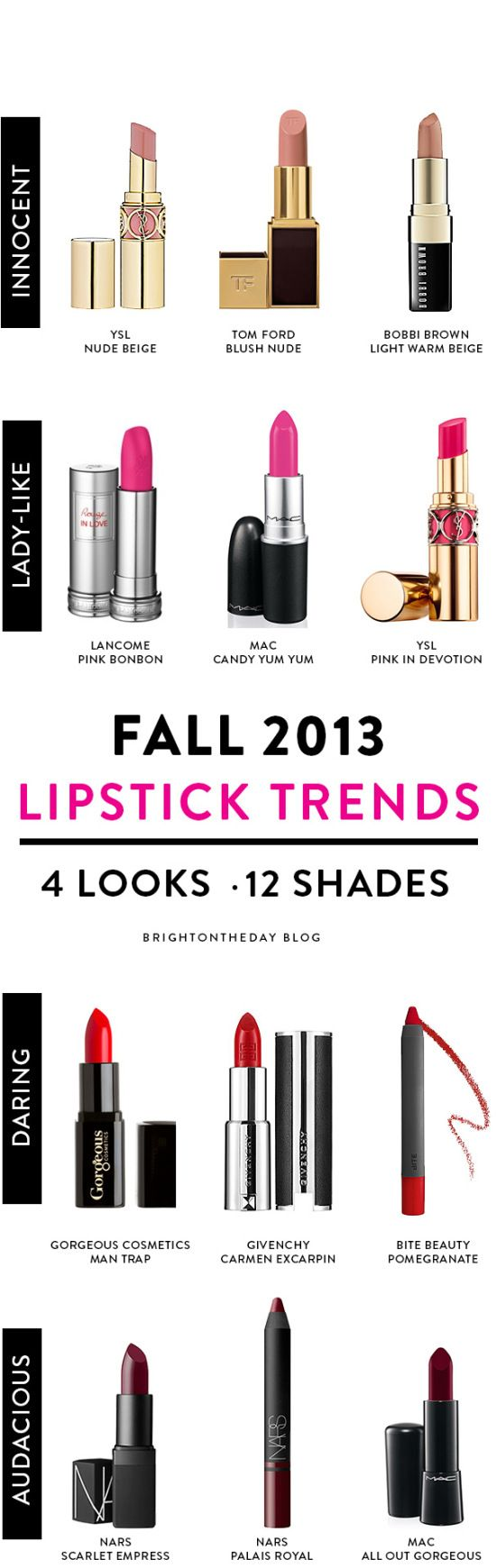 Fall 2013 Lipstick Trends - 4 Looks 12 Shades