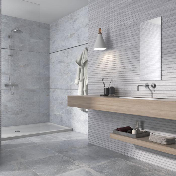 Bathroom Tiles Light Grey Wooden Elements Decorative Hanging Lamp Bathroom Bathroom Decora In 2020 Light Grey Bathrooms Small Bathroom Small Bathroom Remodel
