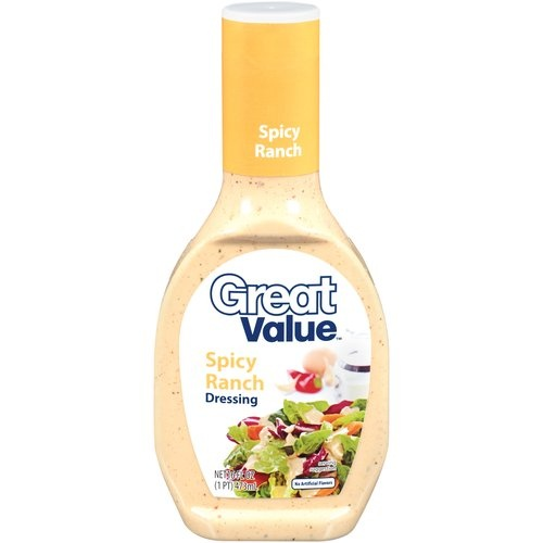 Discovered this stuff today. Love it. Closest thing I have found in a bottle to BWW's southwestern ranch. Now I just need a low calorie version!  Great Value Spicy Ranch Dressing, 16 oz