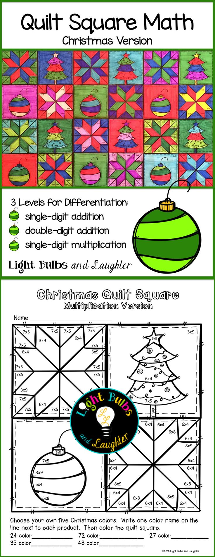 Celebrate Christmas and practice math facts with Quilt Square Math!  Gorgeous on the wall, and fun!  TpT@