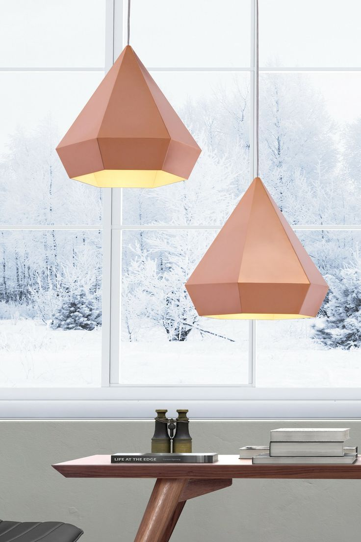 """This light is a hanging toast to geometric elegance. The Prism Ceiling Lamp is a lovely pendant with sharp angles and soft warmth. - Dimensions: 13.8""""W x 13.8""""D x 13""""H - Color: Rose Gold - Material: S"""