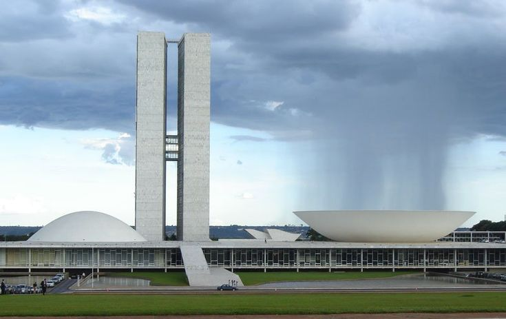 Raining into the bowl, at the National Congress of Brazil building in Brasilia.