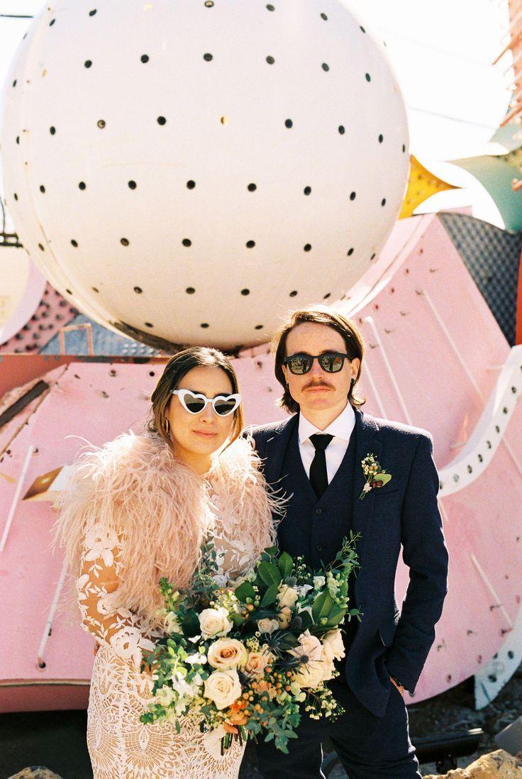 Neon Museum Downtown Vegas Wedding In 2020 Las Vegas Weddings Vegas Wedding Vegas Wedding Dress