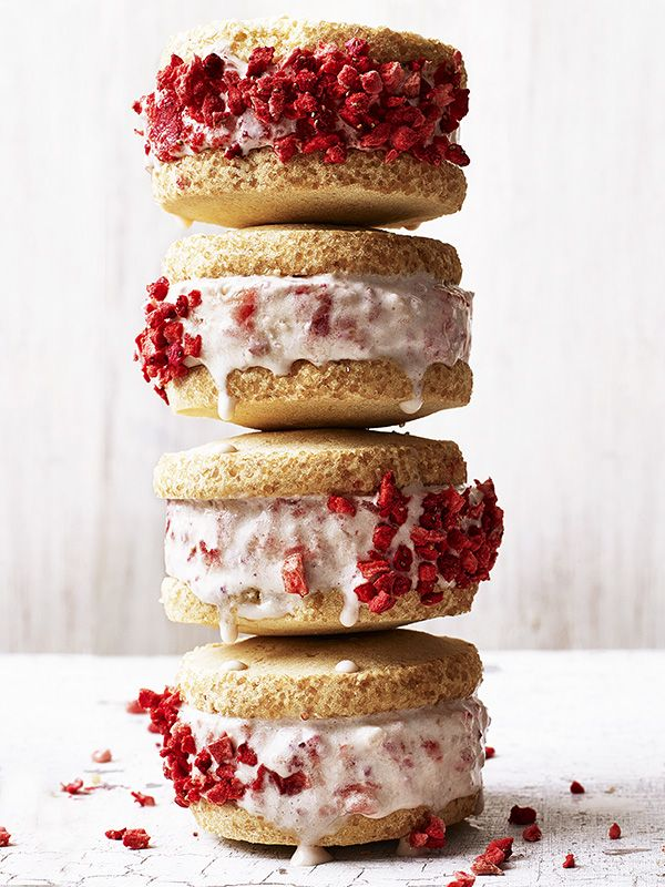These strawberry shortcake ice-cream sandwiches are an easy but impressive summer treat. If you're planning on making these a day or so ahead, just dunk the sides of the sandwiches into the freeze-dried strawberries before serving.
