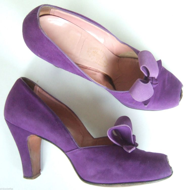 UK 7 40 9 Vintage 1940s purple suede court shoes bow front peep toe pumps heels | eBay